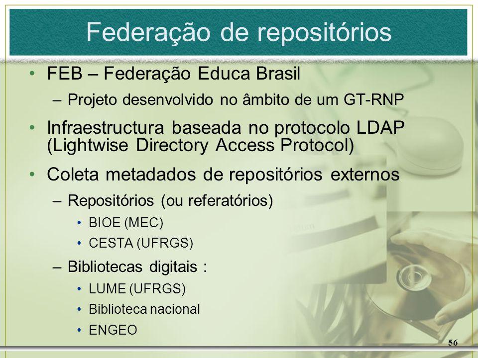 56 Federação de repositórios FEB – Federação Educa Brasil –Projeto desenvolvido no âmbito de um GT-RNP Infraestructura baseada no protocolo LDAP (Ligh