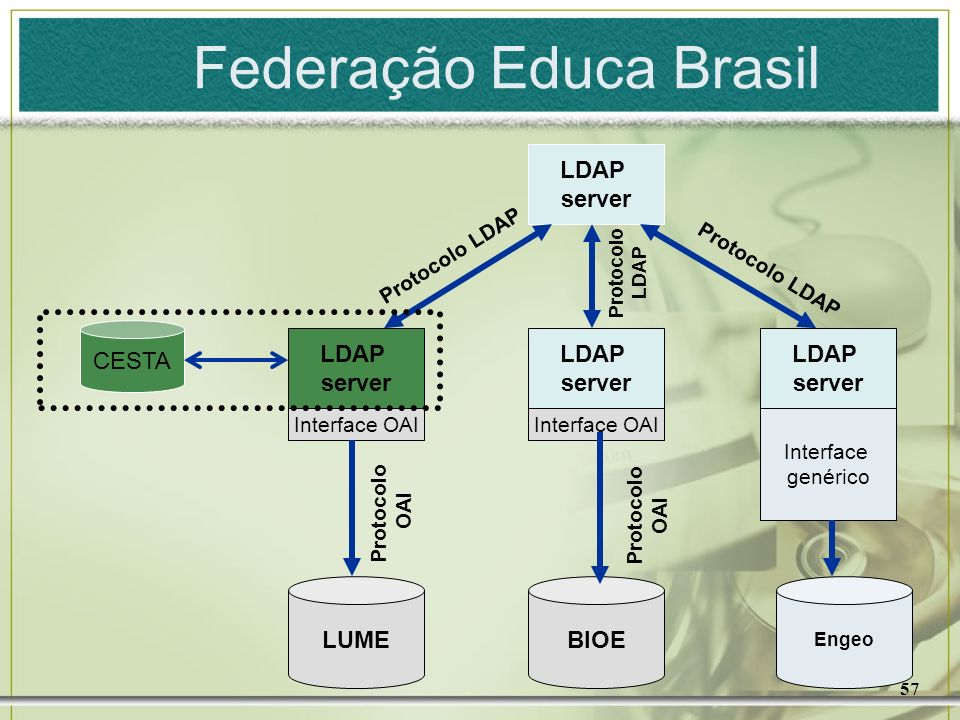 57 CESTA LDAP server LDAP server LDAP server LDAP server Interface OAI Interface genérico LUMEBIOE Engeo Protocolo OAI Protocolo OAI Protocolo LDAP Pr