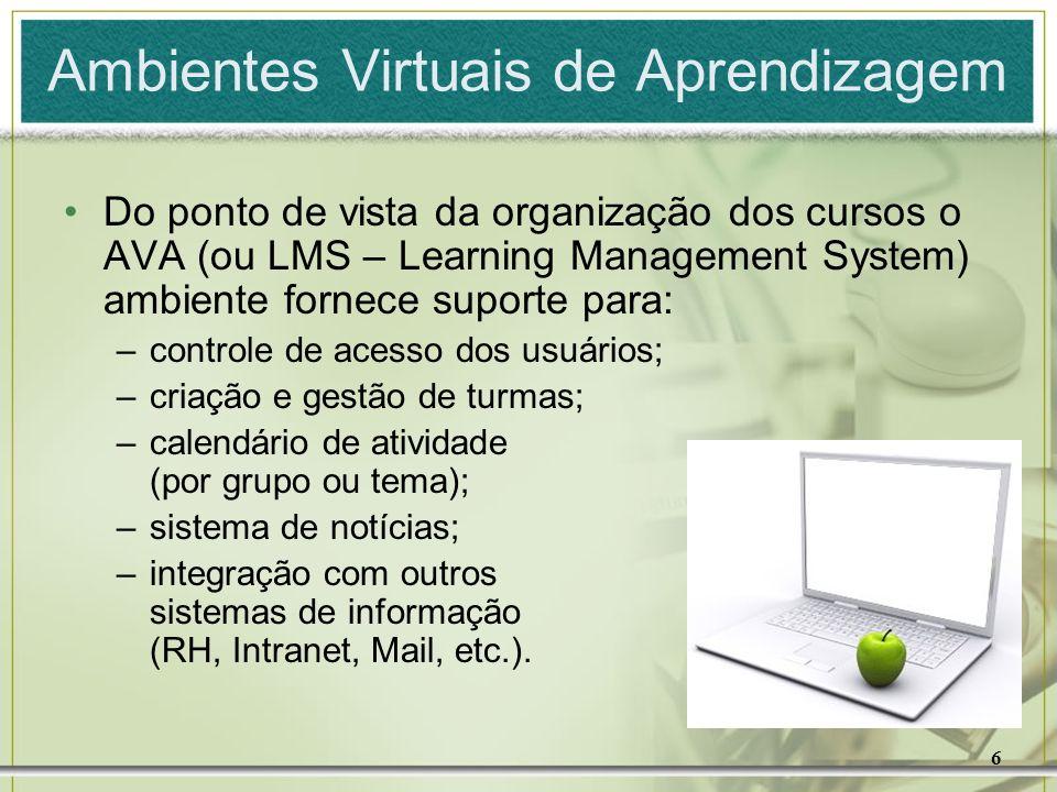 6 Ambientes Virtuais de Aprendizagem Do ponto de vista da organização dos cursos o AVA (ou LMS – Learning Management System) ambiente fornece suporte