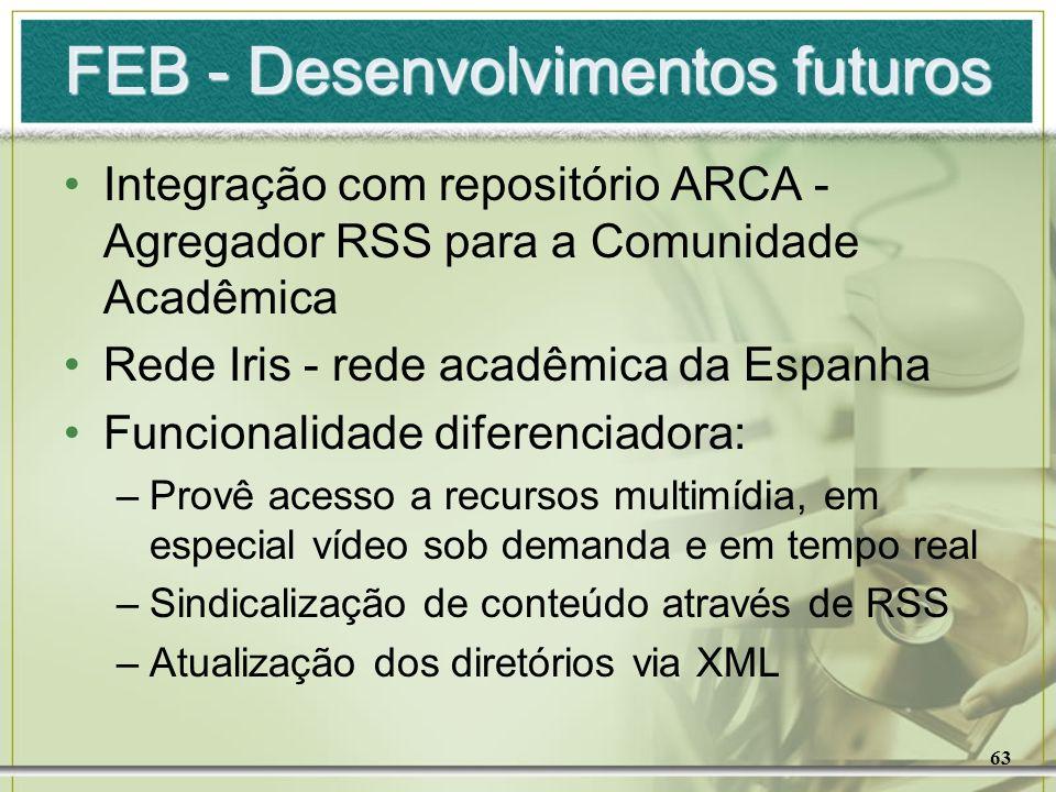 63 FEB - Desenvolvimentos futuros Integração com repositório ARCA - Agregador RSS para a Comunidade Acadêmica Rede Iris - rede acadêmica da Espanha Fu