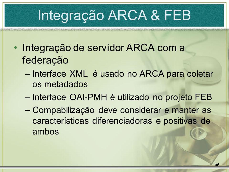 65 Integração ARCA & FEB Integração de servidor ARCA com a federação –Interface XML é usado no ARCA para coletar os metadados –Interface OAI-PMH é uti