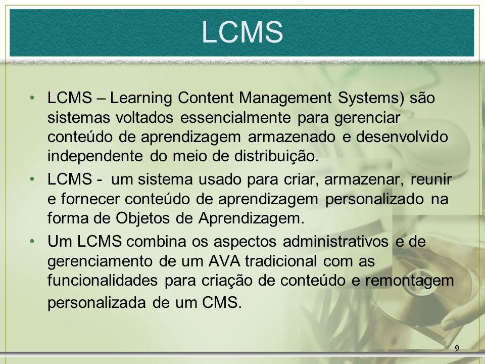 9 LCMS LCMS – Learning Content Management Systems) são sistemas voltados essencialmente para gerenciar conteúdo de aprendizagem armazenado e desenvolv
