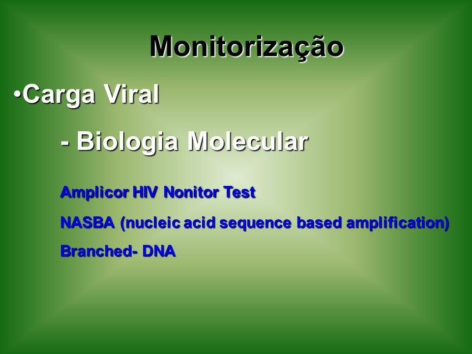 Monitorização Carga ViralCarga Viral - Biologia Molecular Amplicor HIV Nonitor Test NASBA (nucleic acid sequence based amplification) Branched- DNA