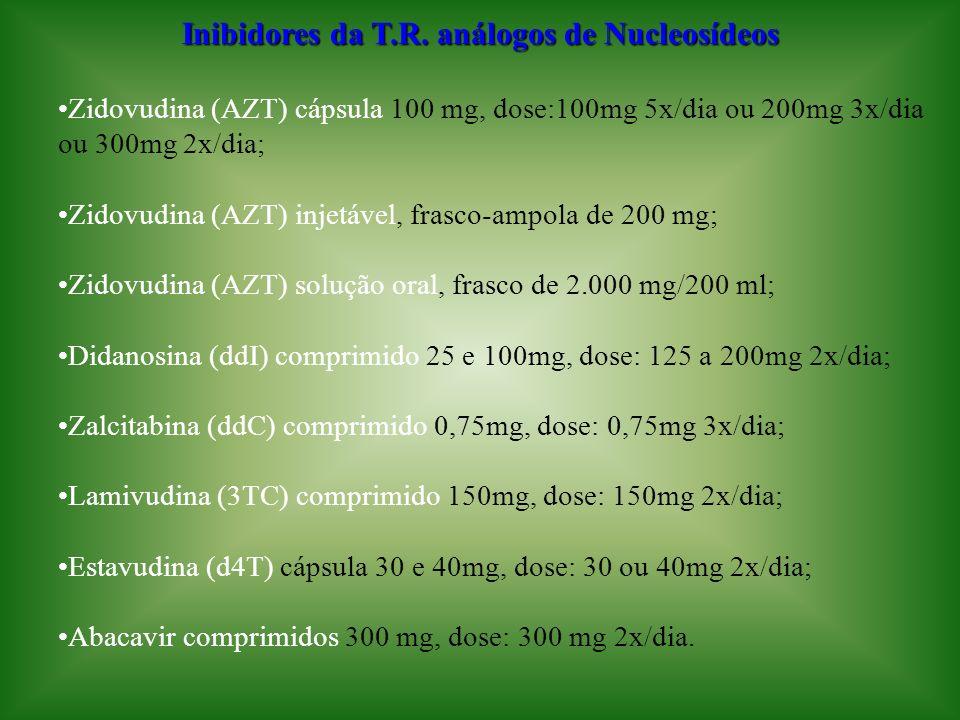 Inibidores da T.R. análogos de Nucleosídeos Zidovudina (AZT) cápsula 100 mg, dose:100mg 5x/dia ou 200mg 3x/dia ou 300mg 2x/dia; Zidovudina (AZT) injet