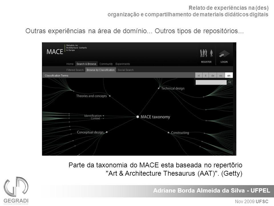 Relato de experiências na (des) organização e compartilhamento de materiais didáticos digitais Adriane Borda Almeida da Silva - UFPEL Nov 2009 UFSC Parte da taxonomia do MACE esta baseada no repertõrio Art & Architecture Thesaurus (AAT) .