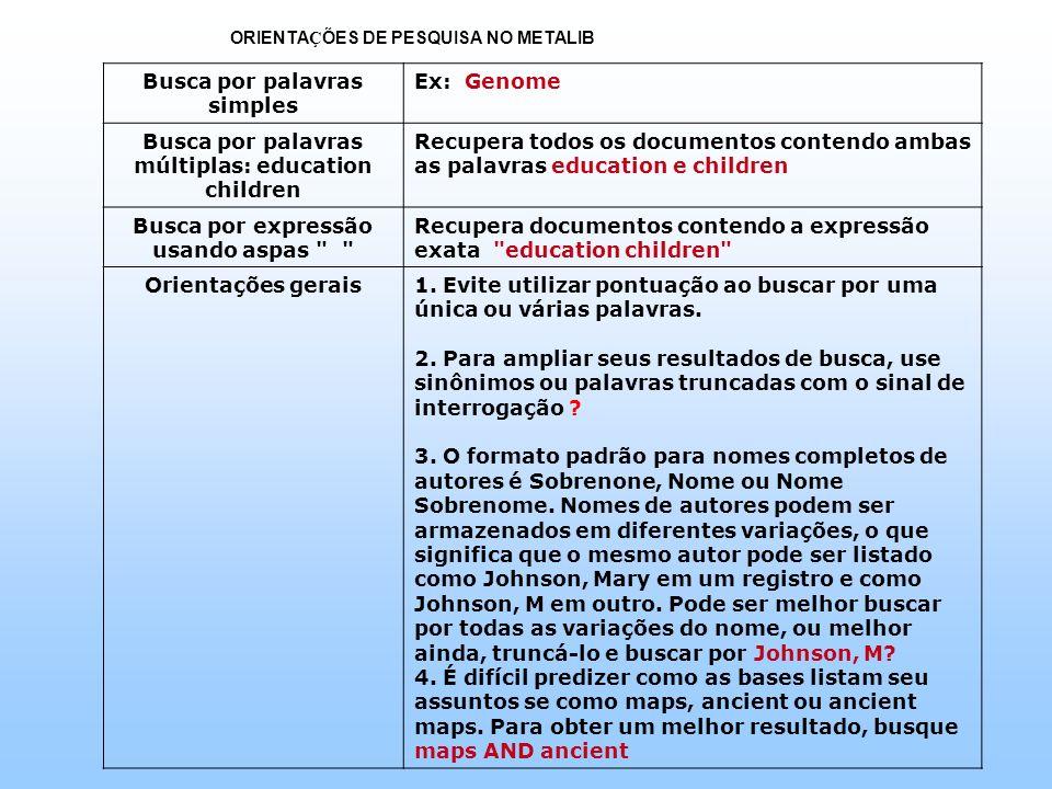ORIENTA Ç ÕES DE PESQUISA NO METALIB Busca por palavras simples Ex: Genome Busca por palavras múltiplas: education children Recupera todos os document