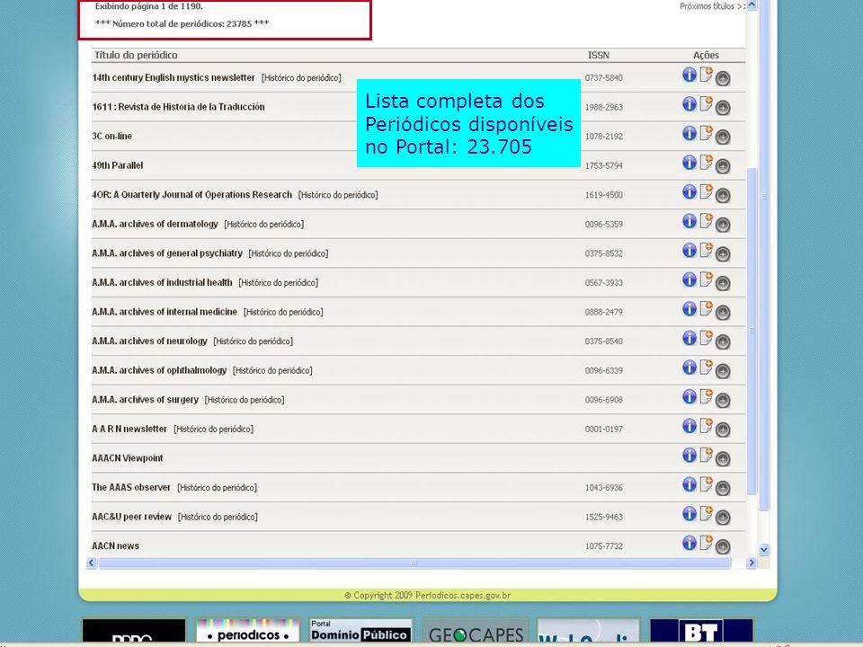 Lista completa dos Periódicos disponíveis no Portal: 23.705