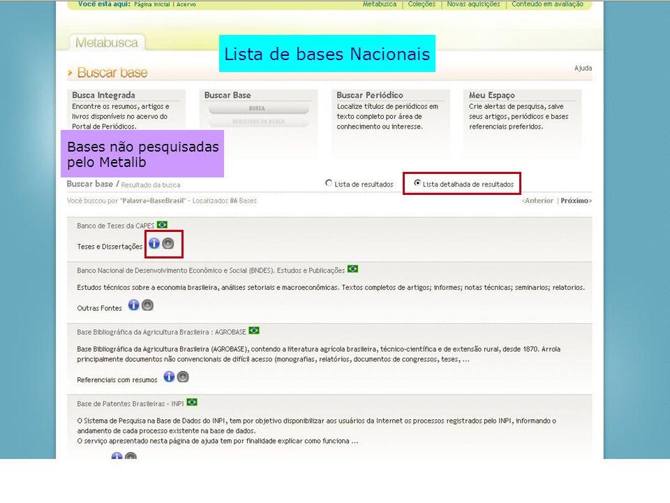 Lista de bases Nacionais Bases não pesquisadas pelo Metalib