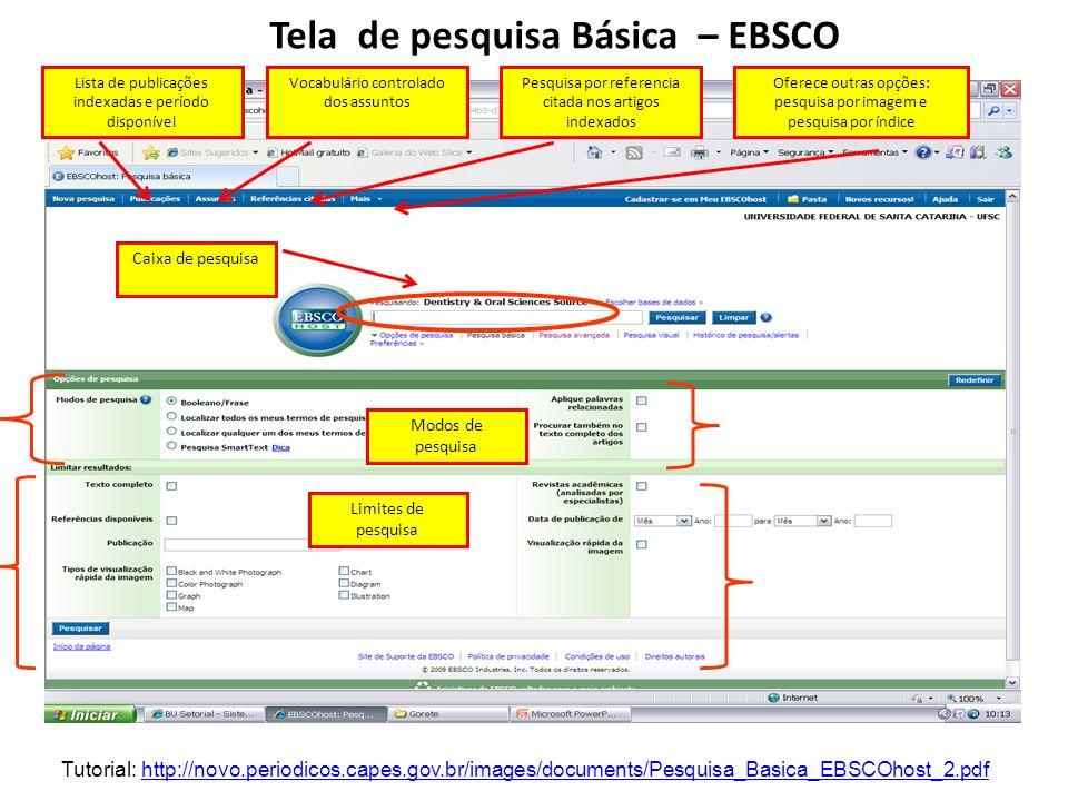 Tela de pesquisa Básica – EBSCO Lista de publicações indexadas e período disponível Vocabulário controlado dos assuntos Pesquisa por referencia citada