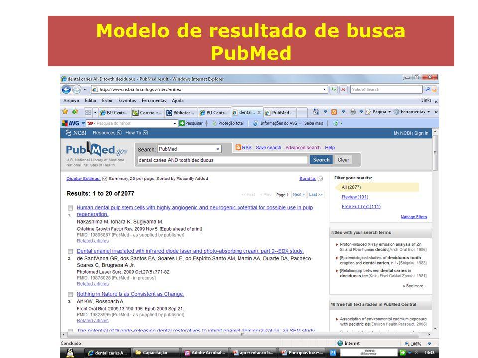Modelo de registro bibliográfico PubMed (Formato Abstracts) Clique em Display Settings e selecione a opção Abstracts para visualizar o resultado neste formato