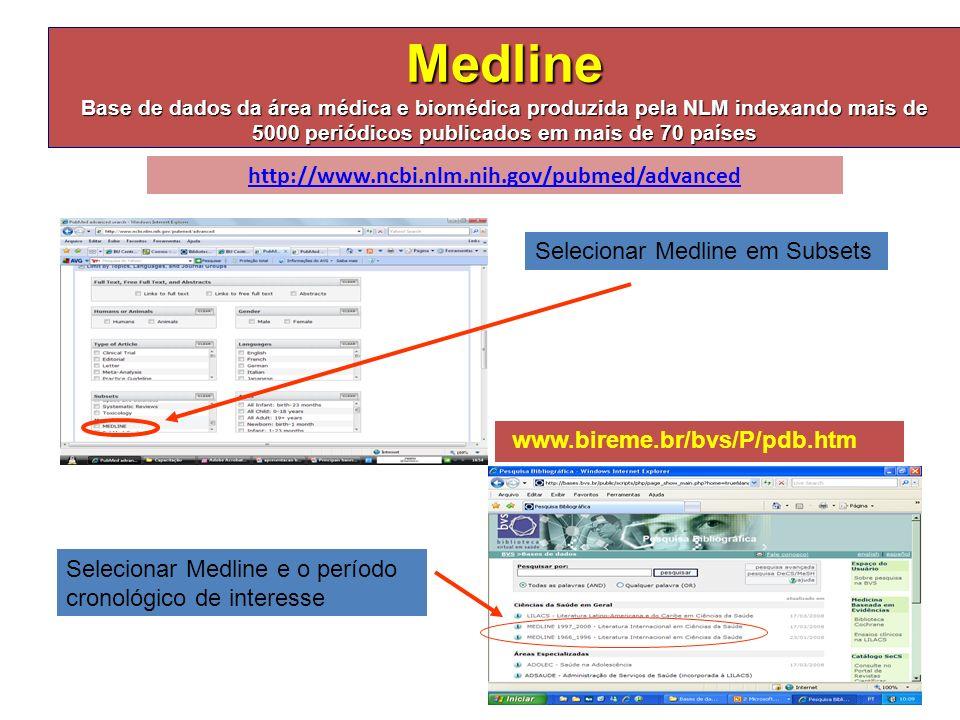 Medline Base de dados da área médica e biomédica produzida pela NLM indexando mais de 5000 periódicos publicados em mais de 70 países http://www.ncbi.