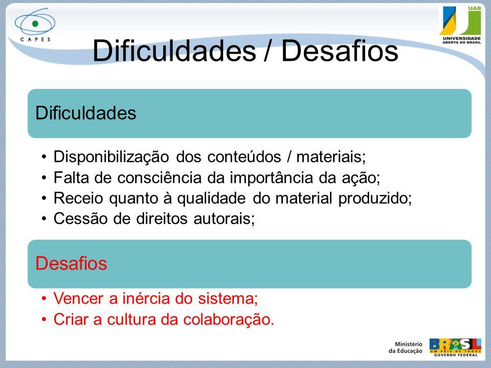 Dificuldades / Desafios Dificuldades Disponibilização dos conteúdos / materiais; Falta de consciência da importância da ação; Receio quanto à qualidad