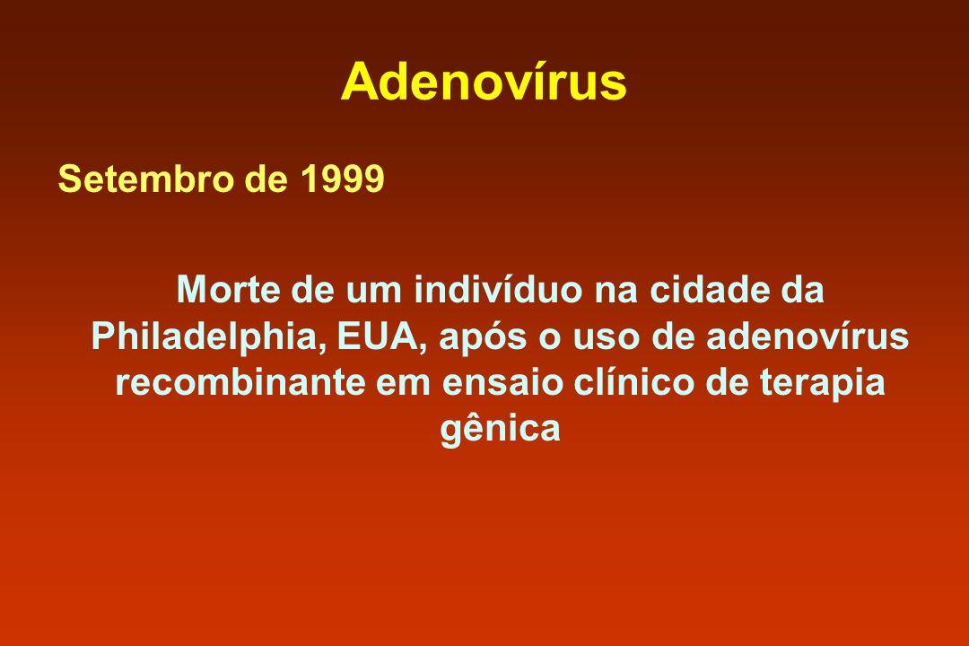 Adenovírus Setembro de 1999 Morte de um indivíduo na cidade da Philadelphia, EUA, após o uso de adenovírus recombinante em ensaio clínico de terapia g
