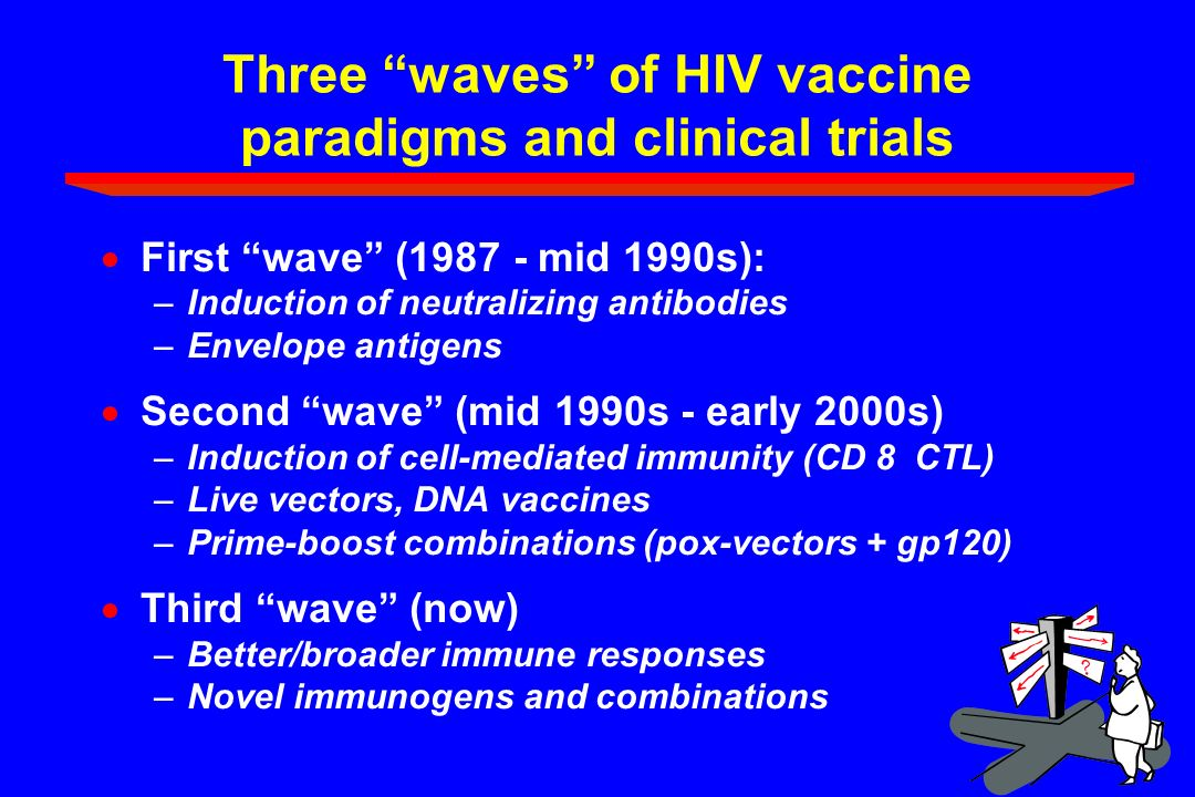 Three waves of HIV vaccine paradigms and clinical trials First wave (1987 - mid 1990s): –Induction of neutralizing antibodies –Envelope antigens Secon