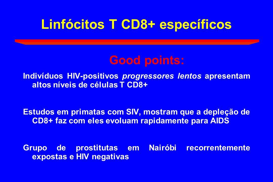 Linfócitos T CD8+ específicos Good points: Indivíduos HIV-positivos progressores lentos apresentam altos níveis de células T CD8+ Estudos em primatas