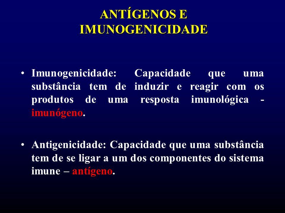 ANTÍGENOS E IMUNOGENICIDADE Imunogenicidade: Capacidade que uma substância tem de induzir e reagir com os produtos de uma resposta imunológica - imunó