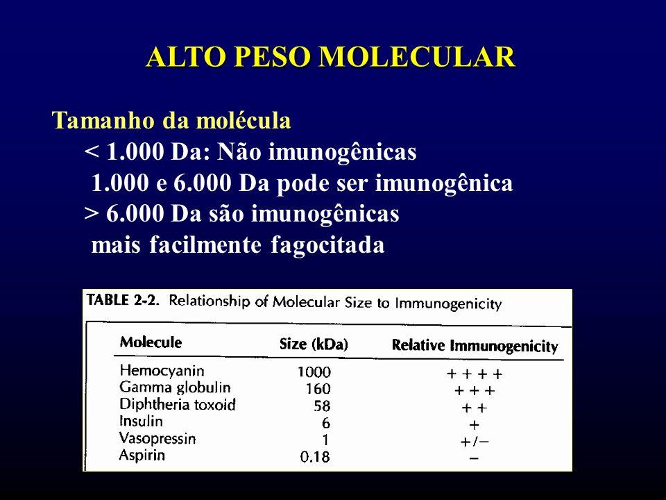 ALTO PESO MOLECULAR Tamanho da molécula < 1.000 Da: Não imunogênicas 1.000 e 6.000 Da pode ser imunogênica > 6.000 Da são imunogênicas mais facilmente