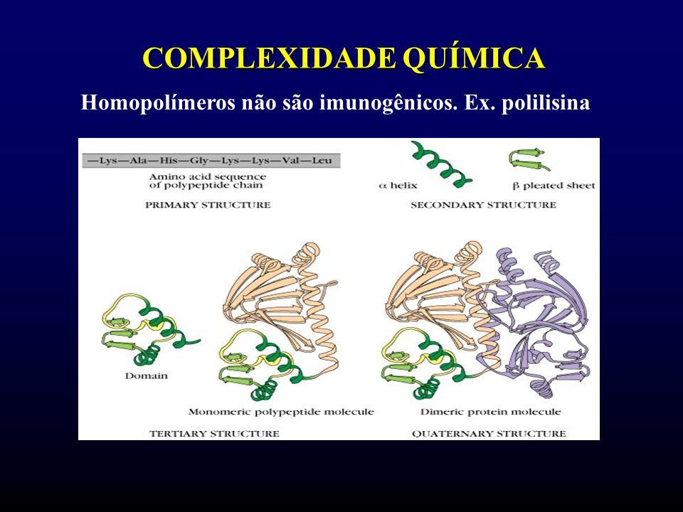 COMPLEXIDADE QUÍMICA Homopolímeros não são imunogênicos. Ex. polilisina