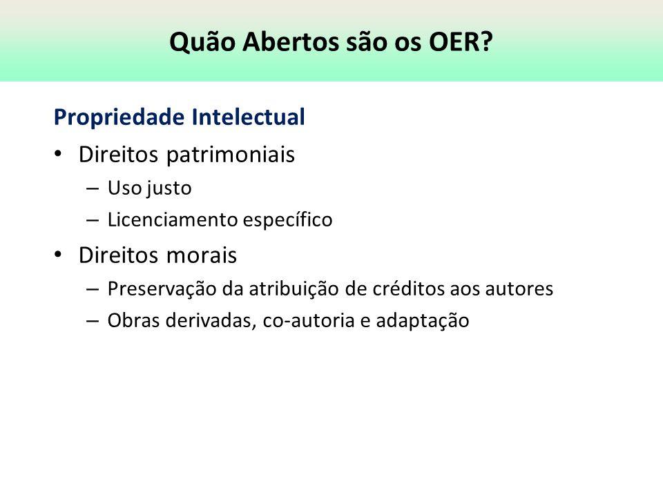 Quão Abertos são os OER? Propriedade Intelectual Direitos patrimoniais – Uso justo – Licenciamento específico Direitos morais – Preservação da atribui