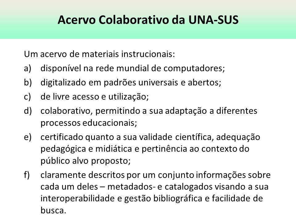 Acervo Colaborativo da UNA-SUS Um acervo de materiais instrucionais: a)disponível na rede mundial de computadores; b)digitalizado em padrões universai