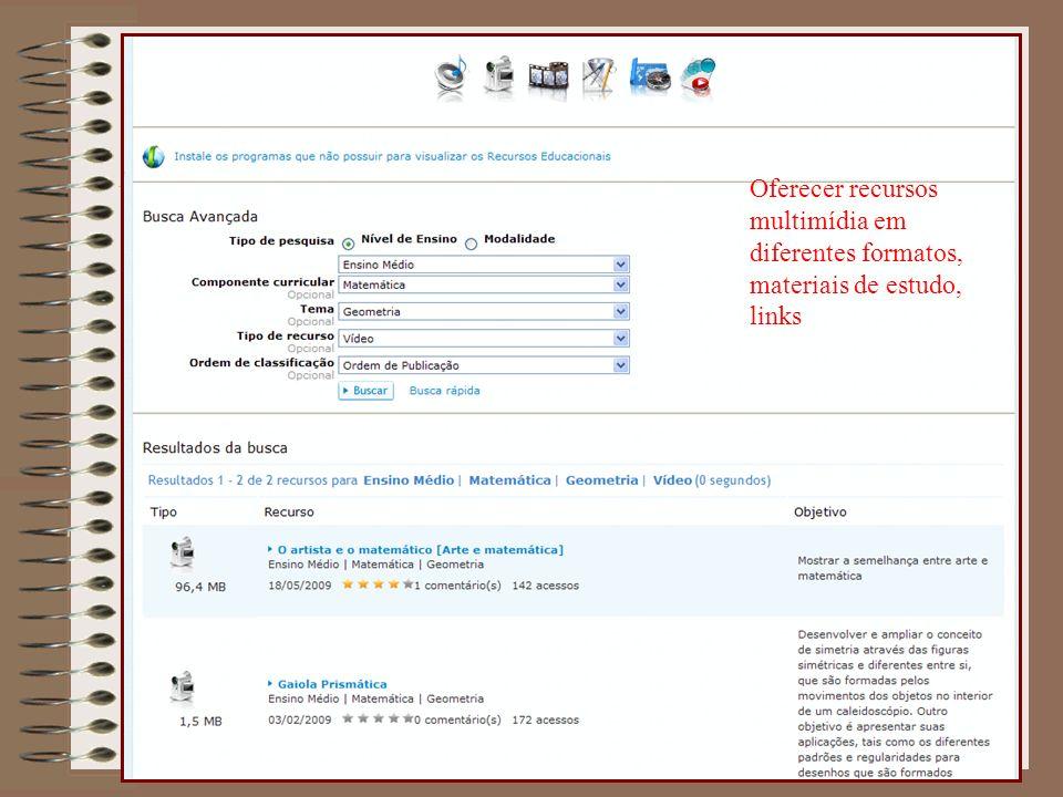 Oferecer recursos multimídia em diferentes formatos, materiais de estudo, links