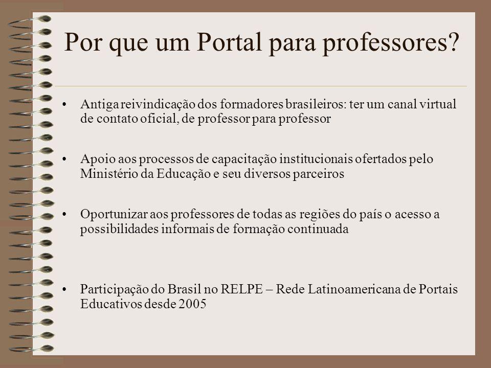 Por que um Portal para professores? Antiga reivindicação dos formadores brasileiros: ter um canal virtual de contato oficial, de professor para profes