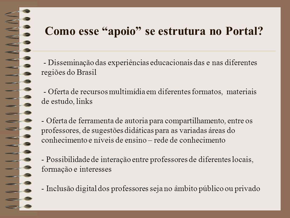 Como esse apoio se estrutura no Portal? - Disseminação das experiências educacionais das e nas diferentes regiões do Brasil - Oferta de recursos multi
