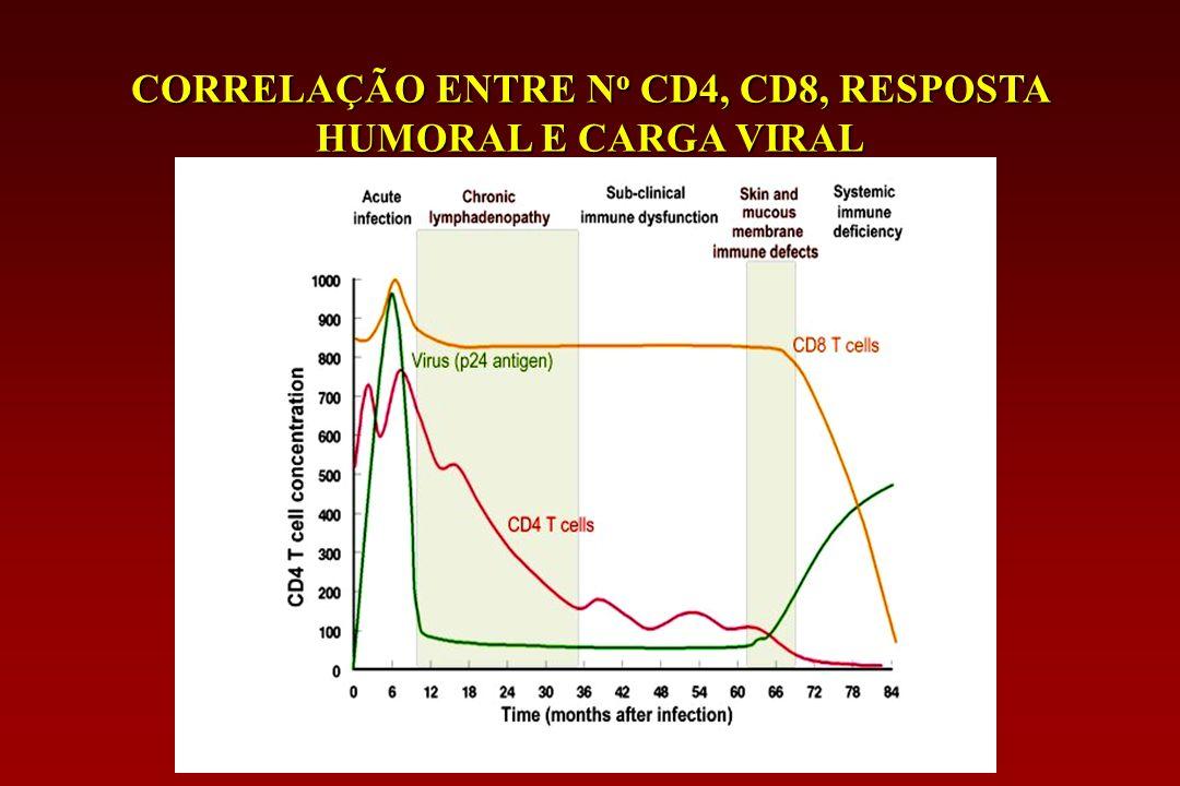 CORRELAÇÃO ENTRE N o CD4, CD8, RESPOSTA HUMORAL E CARGA VIRAL