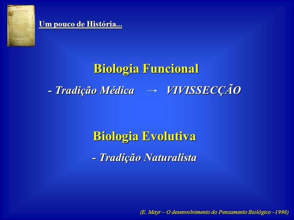 Um pouco de História... Um pouco de História... Biologia Funcional Biologia Funcional Centrada no: - COMO? - Organismo - na Função Biologia Evolutiva