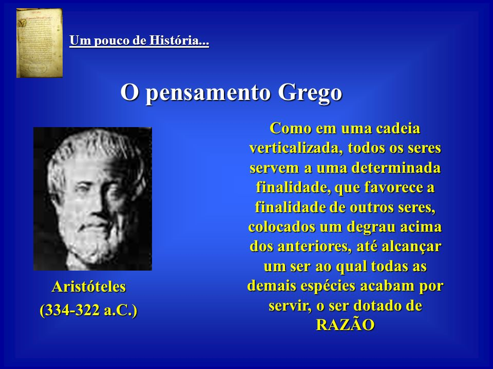 Um pouco de História... Um pouco de História... O pensamento Grego Construiu um modelo de classificação que serviu ao desenvolvimento posterior da zoo