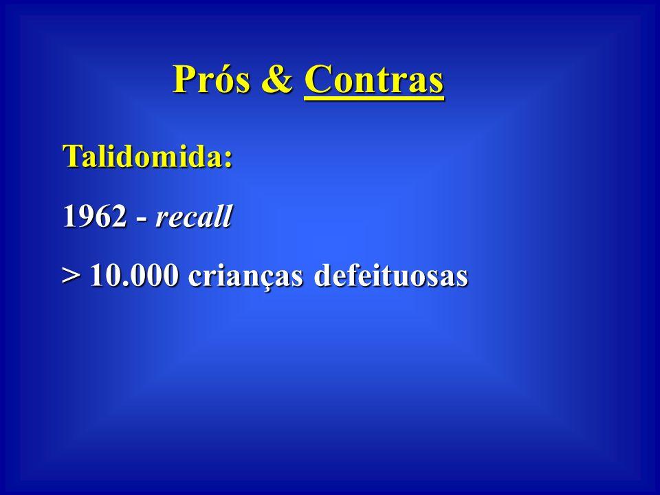 Prós & Contras Talidomida: 1 o caso de teratogênese em humano - 1956 Testada em 10 raças de ratos 15 raças de camundongos 11 linhagens de coelhos 2 ra