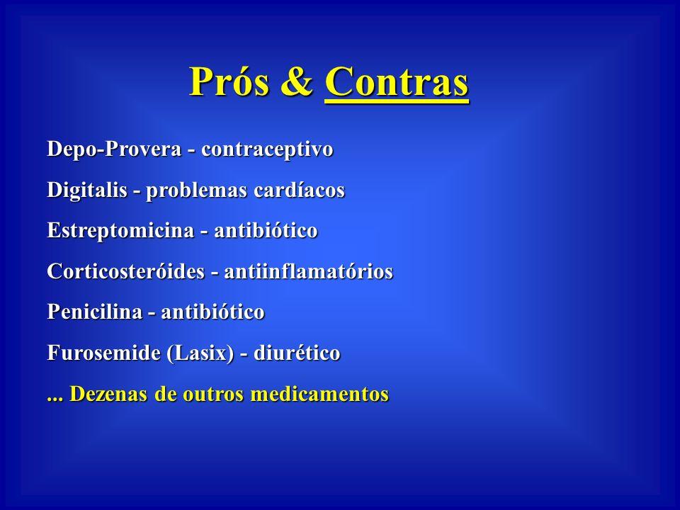 Prós & Contras Diethylstilbestrol - estrógeno sintético - abortos e câncer Ticlopidina - anti-coagulante - trombocitopenia Rexar - antibiótico - infar