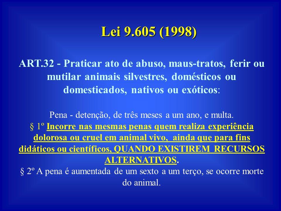 LEI no. 6.63879 (Vivissecção) Estabelece normas para as experimentações científicas envolvendo animais vivos como cobaias. A vivissecção não será perm