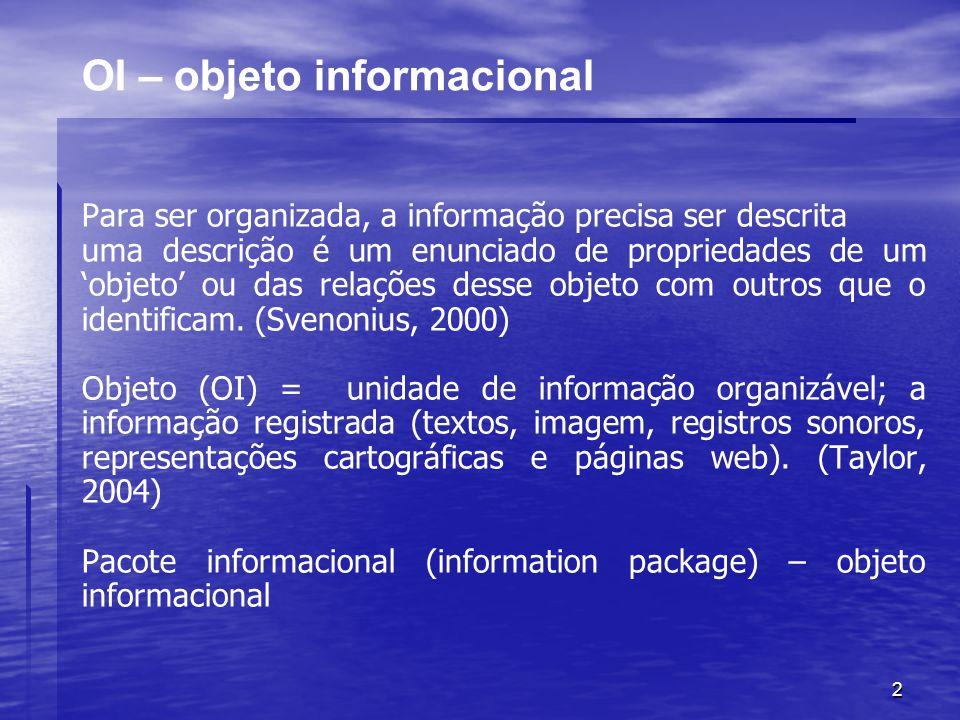2 OI – objeto informacional Para ser organizada, a informação precisa ser descrita uma descrição é um enunciado de propriedades de um objeto ou das re