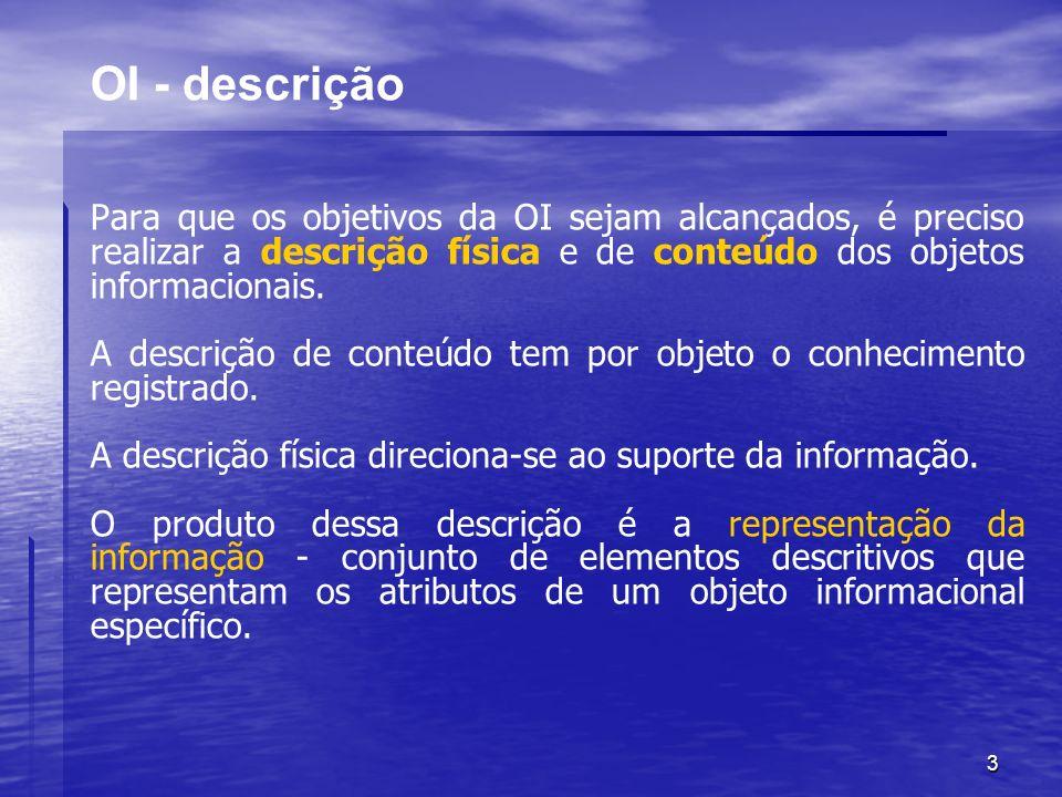 3 OI - descrição Para que os objetivos da OI sejam alcançados, é preciso realizar a descrição física e de conteúdo dos objetos informacionais. A descr