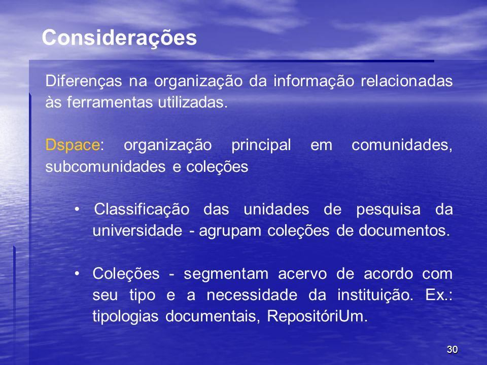 30 Diferenças na organização da informação relacionadas às ferramentas utilizadas. Dspace: organização principal em comunidades, subcomunidades e cole