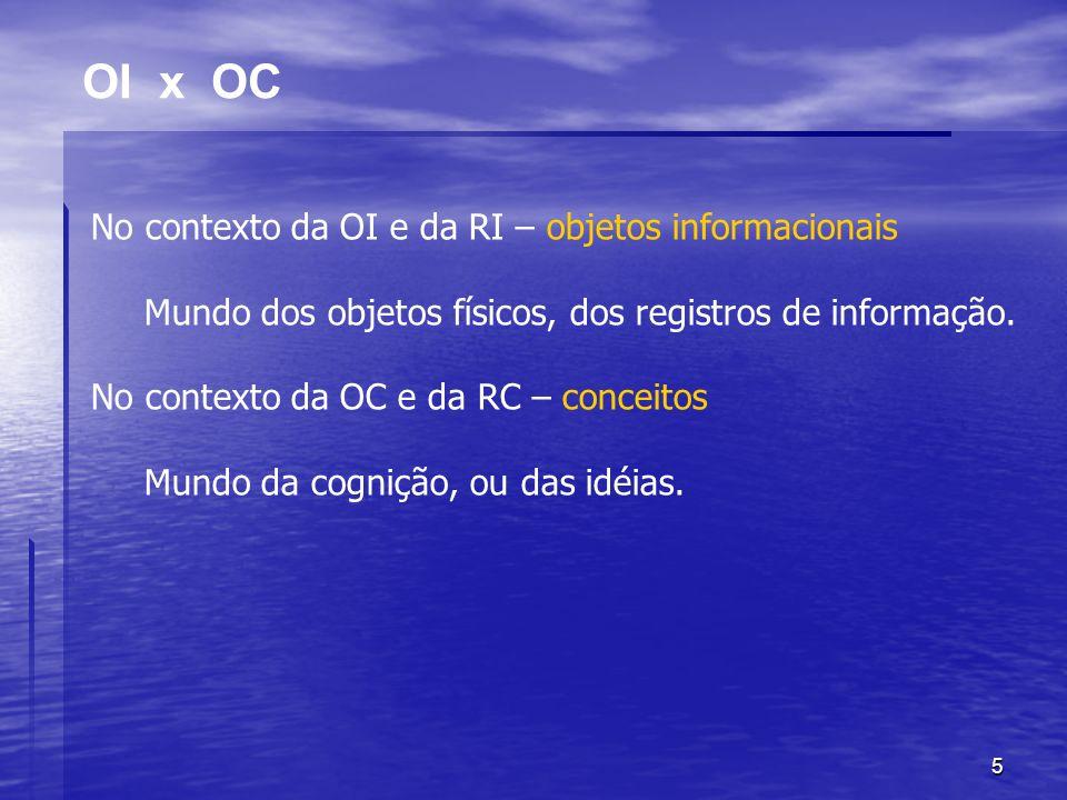 5 OI x OC No contexto da OI e da RI – objetos informacionais Mundo dos objetos físicos, dos registros de informação. No contexto da OC e da RC – conce