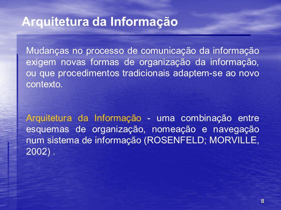 8 Arquitetura da Informação Mudanças no processo de comunicação da informação exigem novas formas de organização da informação, ou que procedimentos t