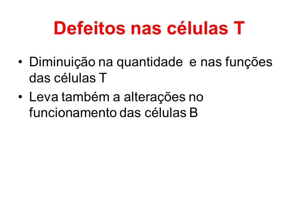 Defeitos nas células T Diminuição na quantidade e nas funções das células T Leva também a alterações no funcionamento das células B