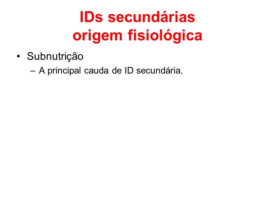 IDs secundárias origem fisiológica Subnutrição –A principal cauda de ID secundária.