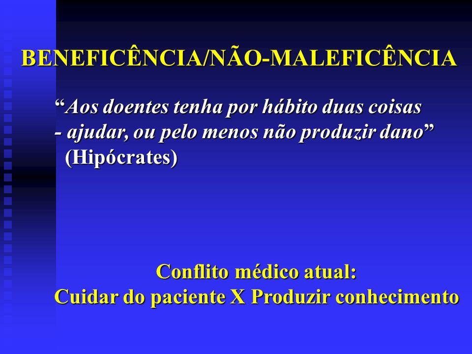BENEFICÊNCIA/NÃO-MALEFICÊNCIA Aos doentes tenha por hábito duas coisasAos doentes tenha por hábito duas coisas - ajudar, ou pelo menos não produzir da