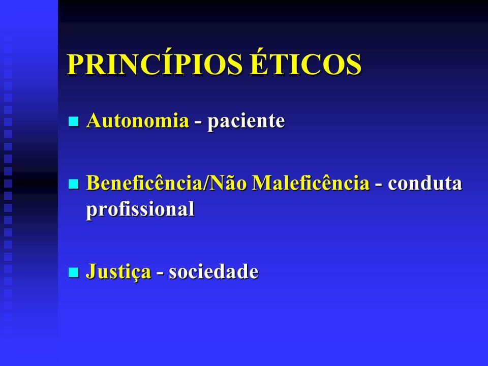 PRINCÍPIOS ÉTICOS Autonomia - paciente Autonomia - paciente Beneficência/Não Maleficência - conduta profissional Beneficência/Não Maleficência - condu