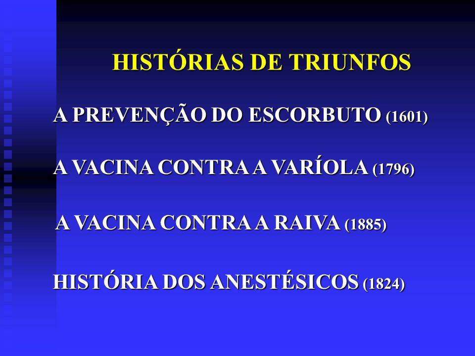 HISTÓRIAS DE TRIUNFOS HISTÓRIAS DE TRIUNFOS A PREVENÇÃO DO ESCORBUTO (1601) A VACINA CONTRA A VARÍOLA (1796) A VACINA CONTRA A RAIVA (1885) HISTÓRIA D