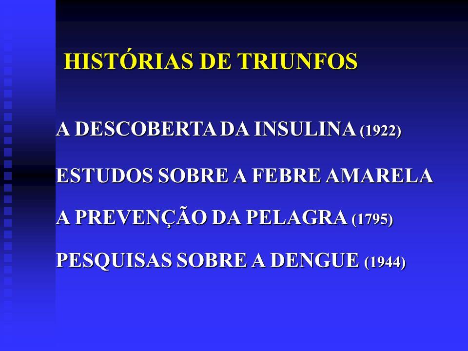 A DESCOBERTA DA INSULINA (1922) ESTUDOS SOBRE A FEBRE AMARELA A PREVENÇÃO DA PELAGRA (1795) HISTÓRIAS DE TRIUNFOS HISTÓRIAS DE TRIUNFOS PESQUISAS SOBR