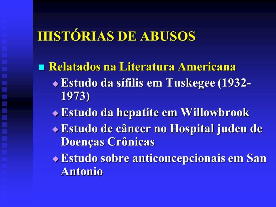 HISTÓRIAS DE ABUSOS Relatados na Literatura Americana Relatados na Literatura Americana Estudo da sífilis em Tuskegee (1932- 1973) Estudo da sífilis e