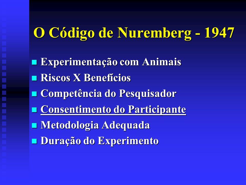 O Código de Nuremberg - 1947 Experimentação com Animais Experimentação com Animais Riscos X Benefícios Riscos X Benefícios Competência do Pesquisador
