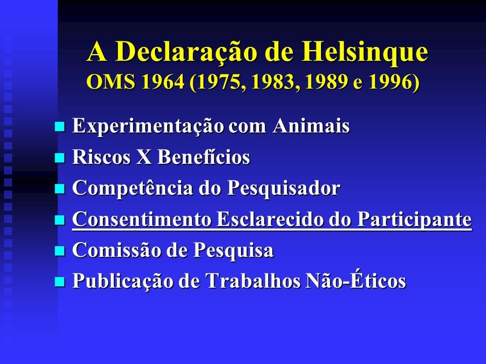 A Declaração de Helsinque OMS 1964 (1975, 1983, 1989 e 1996) Experimentação com Animais Experimentação com Animais Riscos X Benefícios Riscos X Benefí