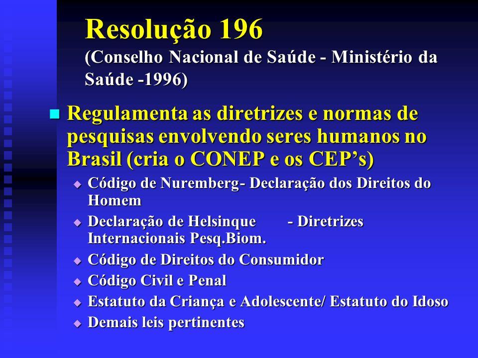 Resolução 196 (Conselho Nacional de Saúde - Ministério da Saúde -1996) Regulamenta as diretrizes e normas de pesquisas envolvendo seres humanos no Bra