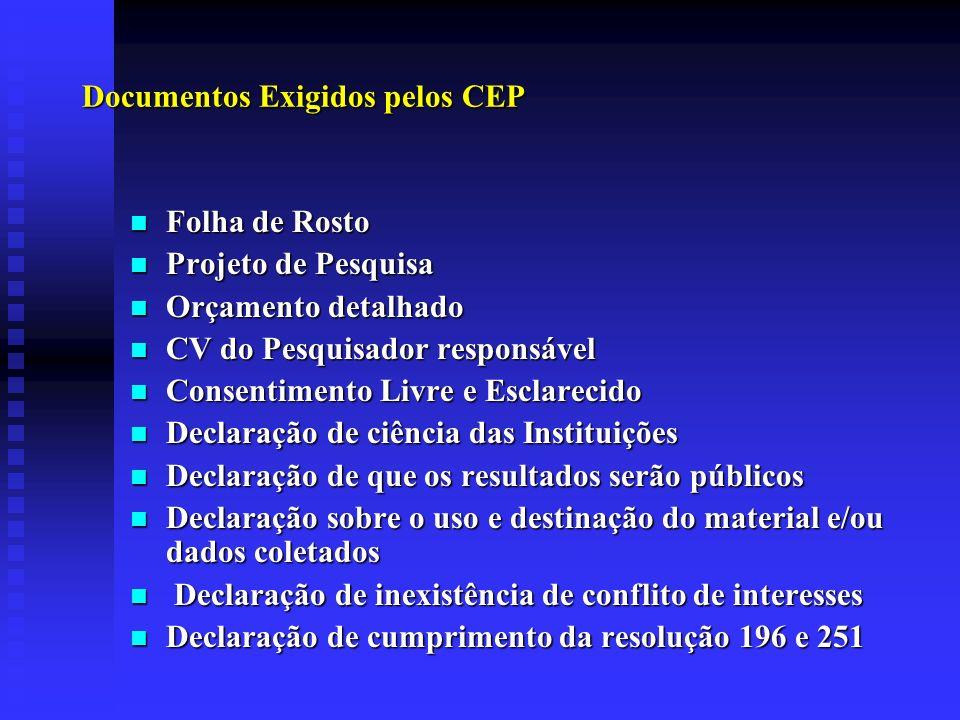 Documentos Exigidos pelos CEP Folha de Rosto Folha de Rosto Projeto de Pesquisa Projeto de Pesquisa Orçamento detalhado Orçamento detalhado CV do Pesq