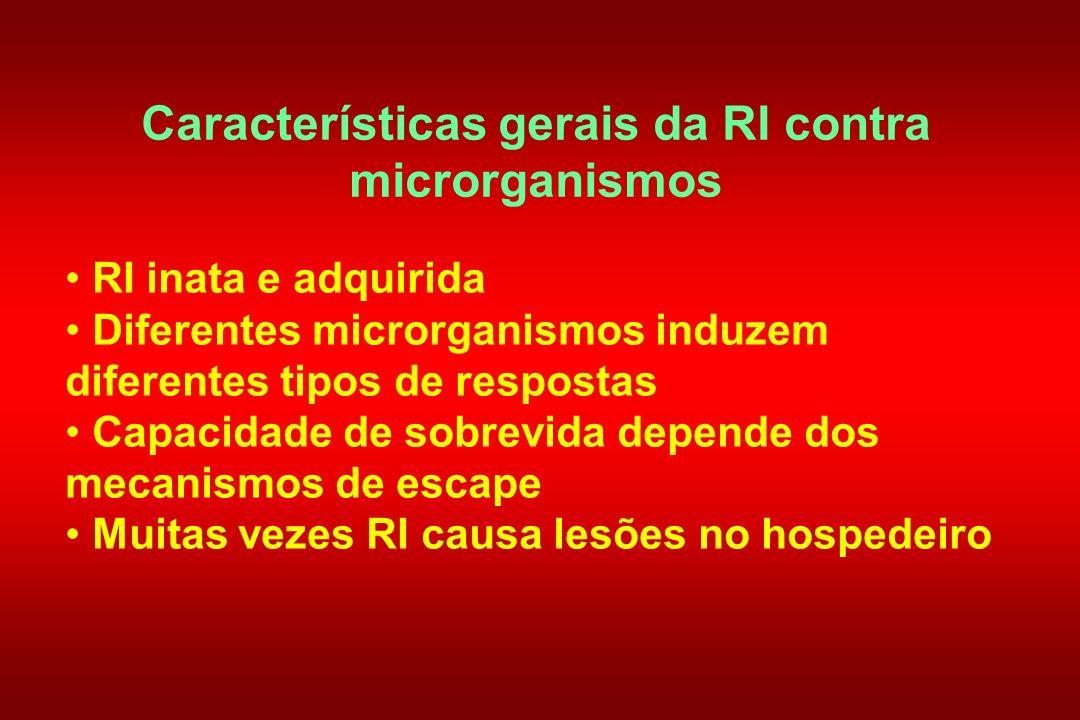 Características gerais da RI contra microrganismos RI inata e adquirida Diferentes microrganismos induzem diferentes tipos de respostas Capacidade de